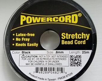 Powercord .8MM Black Stretch Cording