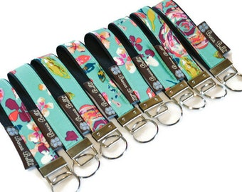 READY TO SHIP - Key Fob Wristlet - keyfob - keychain - fabric key chain - Borsa Bella - Bountiful Teal Fabric