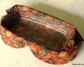 Basket Liner, Table Topper, Centerpiece, Bread Cloth, Fall Leaves in Brown/Gold/Rust/Teal, Handmade Table linens
