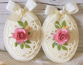 Shabby Pink Handmade Paper Rose Flower lace Embellishments set of 2