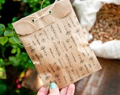 Kraft Brown Bags - Wedding, Birthday, Baby, Party Favor Bag - Printed Flower Patch - Small Paper gift bags - hand drawn - 10 pack