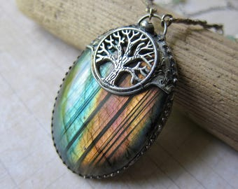 The Tree of Life - Rainbow Labradorite Talisman Pendant