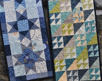 Patchwork Table Runner Pattern....two different projects, Quick and Easy...ONE Charm Square Pack, Twice as Nice