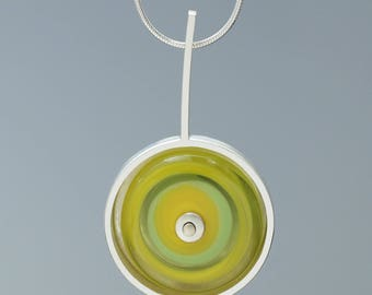 Necklace for Summer, Cheerful Yellow and Green Necklace, Drop Necklace, Glass and Silver Necklace, Art Glass Necklace, Gift for Her