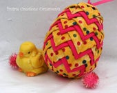 No Sew Quilted Layered Fabric Easter Egg Ornament Pattern