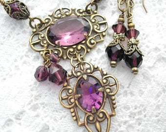 Deep Purple Dreams - Amethyst Glass Jewel Necklace and Earring Set Vintage Inspired
