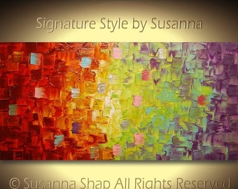 original art abstract painting thick impasto textured palette knife wall art modern multi color by susanna