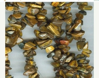 CLEARANCE Shades of Brown Tiger's  Eye Chip Beads 35in Strand
