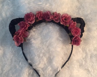 Floral Cat Ears - Flower Cat Ears - Cat Ears Headband - Rose Cat Ears - Pink Cat Ears