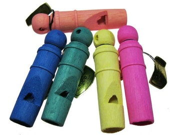 6 x Vintage Wooden Whistles, assorted colors, new old stock