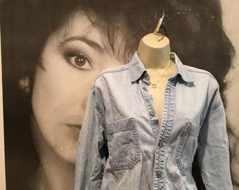 Vintage Distressed Levis Jean Shirt Jacket Faded M/L Worn In Festival Bloggers epstream