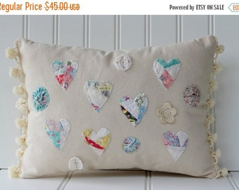 BIG SALE - Quilted Heart Pillow with Pom Fringe - Natural Pastels - Pom Trim - Cottage Country - CatNap Cottage