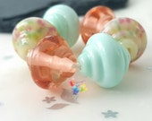 Lampwork Glass Beads Easter Parade Spinners ... set or pair