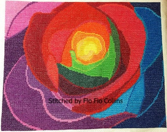Rainbow rose - modern counted cross stitch kit