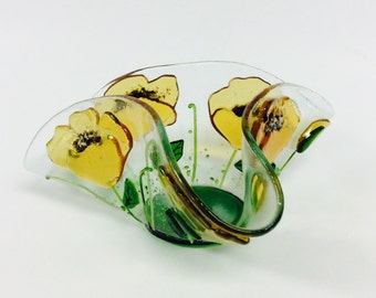 Fused Glass Candle Holder/Votive (Yellow Poppies)