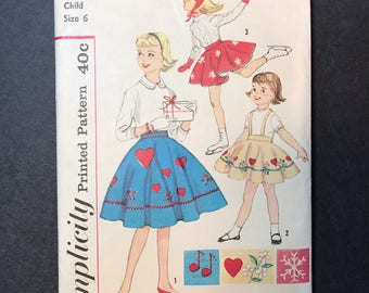 1950's Girl's Skating Skirt and Panties Pattern - Vintage Simplicity 3246 Pattern girls size 6