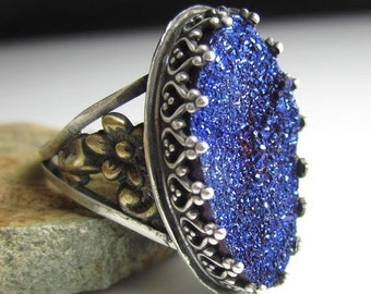 HOLIDAY SALE Blue Glitter Ring - Sterling Silver, Brass Flowers with Blue Titanium Druzy
