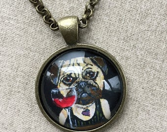 Fawn Pug Necklace -  Dog Jewelry - Pug Necklace - Dog with Red Wine - Funny Dog Art - Gift for Pug Lover - Dog Gift