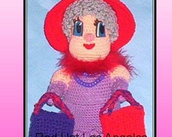 Red Hat Los Angeles Doll Crochet Pattern, red hat shopping, shopping doll, crocchet doll
