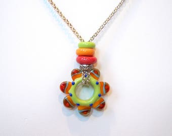"Unique Brightly Colored Lampwork Glass Focal Bead Pendant 27"" Necklace"