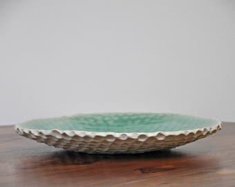 SALE - Copper Blue Coral Large Ceramic Serving Platter - Ceramic Serving Bowl Ceramic PLate Platter Wedding Gift
