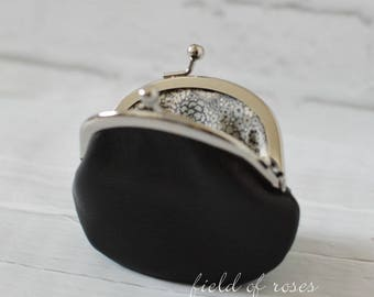 Black Leather Coin Purse Round with Liberty of London Gray Floral Lining