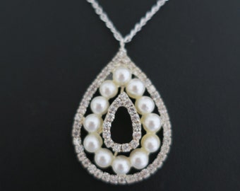 Pearl Drop Necklace, Bridal Pearl Necklace, Large Drop, Sterling Silver Chain, Wedding Necklace Pearl, Rhinestone Pendant, for Brides, Janet