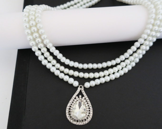 3 layers Bridal Pearl Necklace with A Cubic Zirconia Drop Pendant