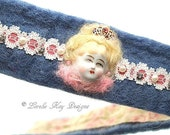 Marie Inspired Needle Felted Cuff Bracelet Doll Head Queen Wool Bracelet