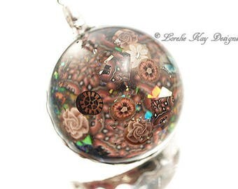 Kaleidoscope Necklace Soldered Resin Dome Pendant Polymer Clay Resin Lorelie Kay Original
