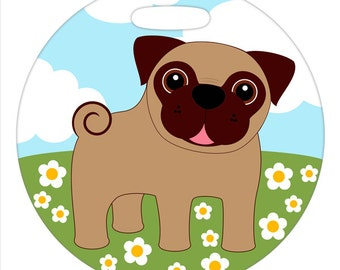 Luggage Tag - Pug in a Field of Flowers - Round Plastic Bag Tag