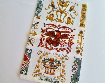Vintage Linen Tea Towel - Early American - Parisian Prints All Pure Linen