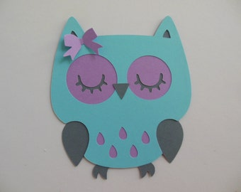 Owl Cutout - Lavender, Aqua and Gray - Birthday Party Decoration - Baby Shower Decorations - Set of 1