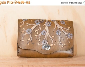 JANUARY SALE Small Leather Clutch Bag - Winter Box Clutch with tree and Flowers in Antique Brown - Clutch, Wristlet, Waist bag or Crossbody
