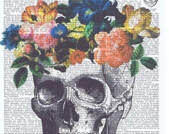 Sugar Skull.Catrina Gift.dia de los meurtos.Vintage.flowers.Antique Book Page Print, buy 3 get 1 free.deco.steampunk.hipster.birthday.bird