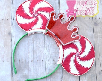 Peppermint Princess Mouse Ears ~ Embroidered Christmas Ears ~ Miss Mouse Peppermint Christmas Ears