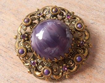 Vintage Signed Austria Purple Glass Stone, Rhinestones and Brass Filigree Brooch - 37mm in Diameter