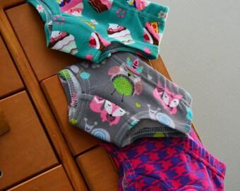 Custom Trio - girls hipster panties, underwear (made to order)