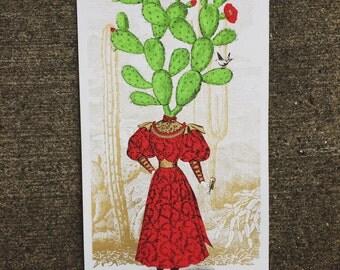Catherine Cactus - Hand-Printed Art Print