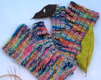 FINGERLESS MITTS, Handknit cotton and silk for those allergic to animal fibers! Four colorways to choose. Washable! Fits most adult sizes