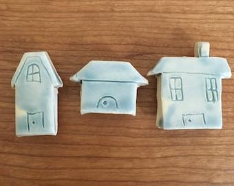 House Magnets | Ceramic Magnets | Blue Magnets | Cute Magnets | Fridge Magnets | Refrigerator Magnet | Kitchen Magnet | Pottery Magnet