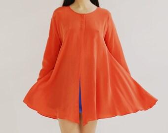 Sample SALE - bright red matte silk charmeuse long sleeve shirt dress
