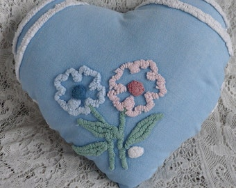 Upcycled chenille heart pillow, cottage chic decor, heart accent pillow, blue white pink chenille flower valentine, porch pillow, bed accent