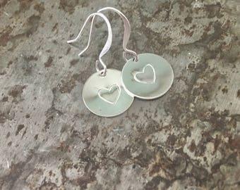 Minimalist stamped metal heart earrings