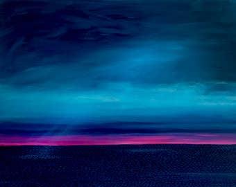 sunset, stormy sky, seascape, coastal,Shelagh Duffett Print