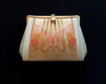 Vintage Japanese Kimono Clutch - Vintage Clutch - Bridal Clutch - Peach Orange Clutch - Japanese Bag - Bridal Purse - Japanese Clutch
