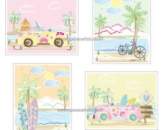 Beach Decor, Surf Art Prints, Beach Art - Key West, Malibu, Art Prints For Girls Surf Beach Room, Beach Bedding Decor, Personalized