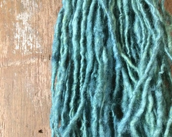 Indigo and queen annes lace dyed shetland wool yarn 62 yards light bulky handspun naturally dyed plant dyed