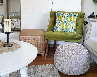 Handmade Knitted Lined Pouffe with different designs