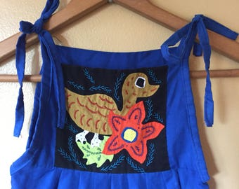 Vtg ethic embroidery and applique sun dress 6/7/8 years old